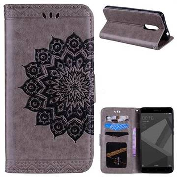 Datura Flowers Flash Powder Leather Wallet Holster Case for Xiaomi Redmi Note 4 Red Mi Note4 - Gray
