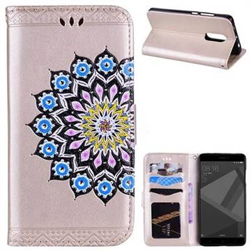 Datura Flowers Flash Powder Leather Wallet Holster Case for Xiaomi Redmi Note 4 Red Mi Note4 - Golden