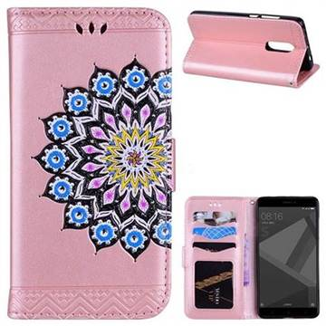 Datura Flowers Flash Powder Leather Wallet Holster Case for Xiaomi Redmi Note 4 Red Mi Note4 - Pink