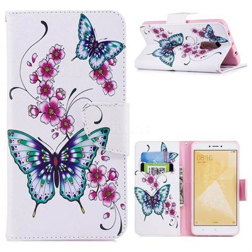 Peach Butterfly Leather Wallet Case for Xiaomi Redmi Note 4 Red Mi Note4