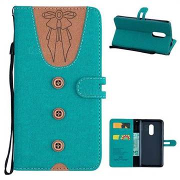 Ladies Bow Clothes Pattern Leather Wallet Phone Case for Xiaomi Redmi Note 4 Red Mi Note4 - Green