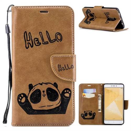 Embossing Hello Panda Leather Wallet Phone Case for Xiaomi Redmi Note 4 Red Mi Note4 - Brown