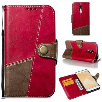 Retro Magnetic Stitching Wallet Flip Cover for Xiaomi Redmi Note 4 Red Mi Note4 - Rose Red