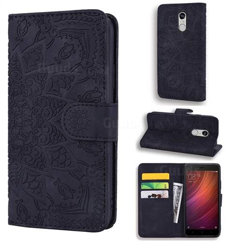 Retro Embossing Mandala Flower Leather Wallet Case for Xiaomi Redmi Note 4 Red Mi Note4 - Black