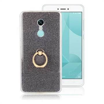 Luxury Soft TPU Glitter Back Ring Cover with 360 Rotate Finger Holder Buckle for Xiaomi Redmi Note 4X - Black