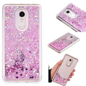 Glitter Sand Mirror Quicksand Dynamic Liquid Star TPU Case for Xiaomi Redmi Note 4X - Cherry Pink