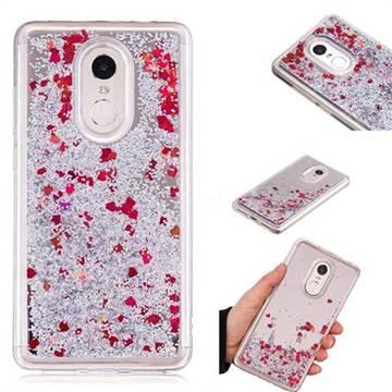 Glitter Sand Mirror Quicksand Dynamic Liquid Star TPU Case for Xiaomi Redmi Note 4X - Red