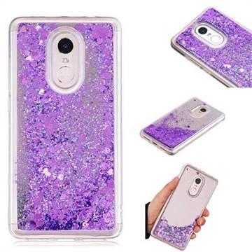 Glitter Sand Mirror Quicksand Dynamic Liquid Star TPU Case for Xiaomi Redmi Note 4X - Purple