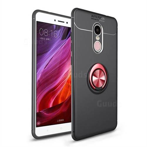 Auto Focus Invisible Ring Holder Soft Phone Case for Xiaomi Redmi Note 4X - Black Red