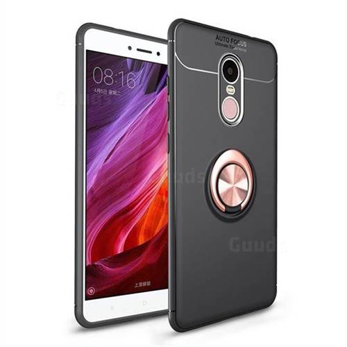 Auto Focus Invisible Ring Holder Soft Phone Case for Xiaomi Redmi Note 4X - Black Gold