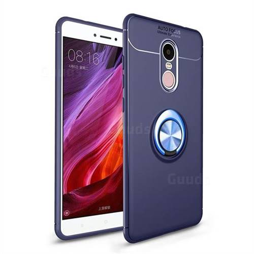 Auto Focus Invisible Ring Holder Soft Phone Case for Xiaomi Redmi Note 4X - Blue