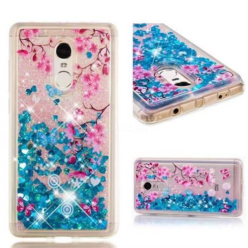 Dynamic Liquid Glitter Quicksand Soft TPU Case for Xiaomi Redmi Note 4X - Blue Plum Blossom