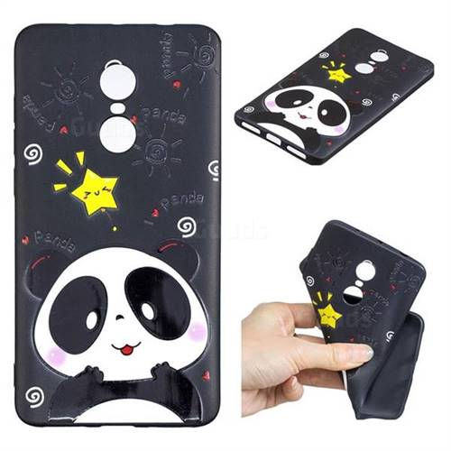 Cute Bear 3D Embossed Relief Black TPU Cell Phone Back Cover for Xiaomi Redmi Note 4X