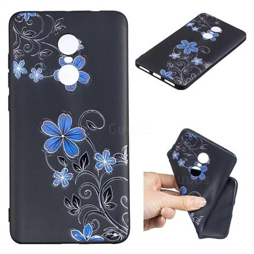 Little Blue Flowers 3D Embossed Relief Black TPU Cell Phone Back Cover for Xiaomi Redmi Note 4X