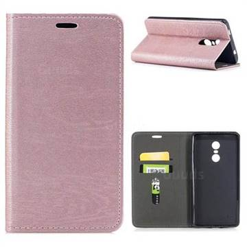 Tree Bark Pattern Automatic suction Leather Wallet Case for Xiaomi Redmi Note 4X - Rose Gold