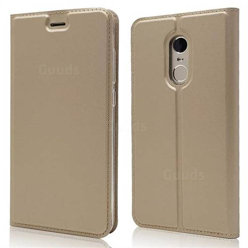 Ultra Slim Card Magnetic Automatic Suction Leather Wallet Case for Xiaomi Redmi Note 4X - Champagne