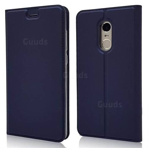 Ultra Slim Card Magnetic Automatic Suction Leather Wallet Case for Xiaomi Redmi Note 4X - Royal Blue