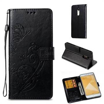 Embossing Butterfly Flower Leather Wallet Case for Xiaomi Redmi Note 4X - Black