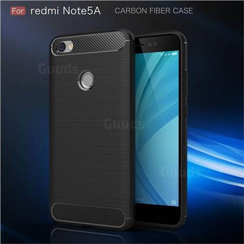 Luxury Carbon Fiber Brushed Wire Drawing Silicone TPU Back Cover for Xiaomi Redmi Note 5A (Black)