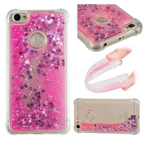Dynamic Liquid Glitter Sand Quicksand TPU Case for Xiaomi Redmi Note 5A - Pink Love Heart