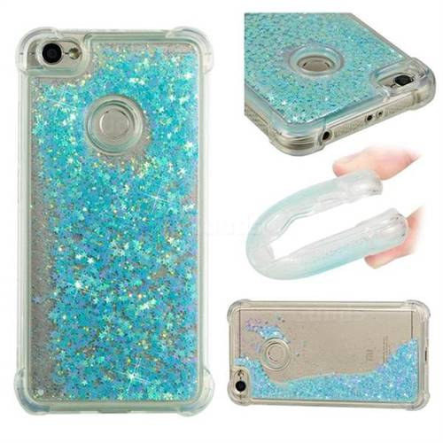 Dynamic Liquid Glitter Sand Quicksand TPU Case for Xiaomi Redmi Note 5A - Silver Blue Star