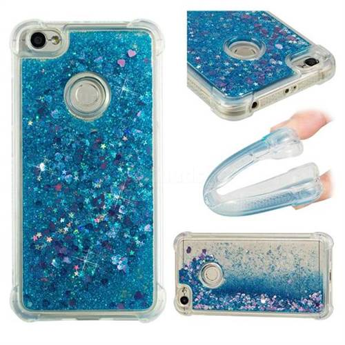 Dynamic Liquid Glitter Sand Quicksand TPU Case for Xiaomi Redmi Note 5A - Blue Love Heart