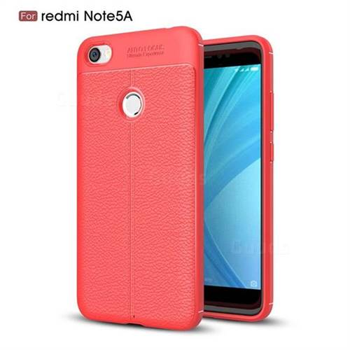 Luxury Auto Focus Litchi Texture Silicone TPU Back Cover for Xiaomi Redmi Note 5A - Red