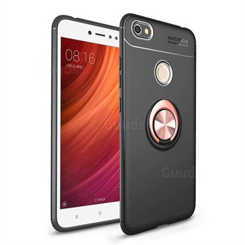 Auto Focus Invisible Ring Holder Soft Phone Case for Xiaomi Redmi Note 5A - Black Gold