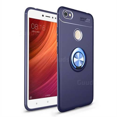 Auto Focus Invisible Ring Holder Soft Phone Case for Xiaomi Redmi Note 5A - Blue