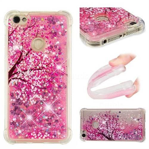 Pink Cherry Blossom Dynamic Liquid Glitter Sand Quicksand Star TPU Case for Xiaomi Redmi Note 5A