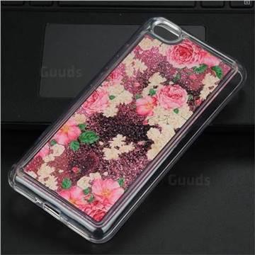 Rose Flower Glassy Glitter Quicksand Dynamic Liquid Soft Phone Case for Xiaomi Redmi Note 5A