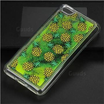 Pineapple Glassy Glitter Quicksand Dynamic Liquid Soft Phone Case for Xiaomi Redmi Note 5A