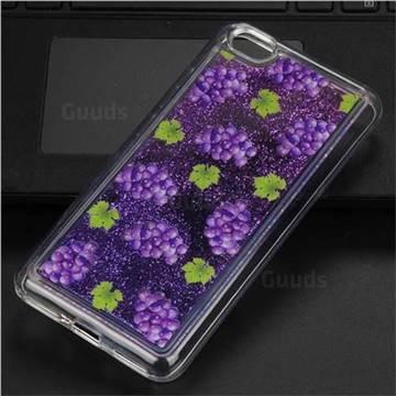 Purple Grape Glassy Glitter Quicksand Dynamic Liquid Soft Phone Case for Xiaomi Redmi Note 5A