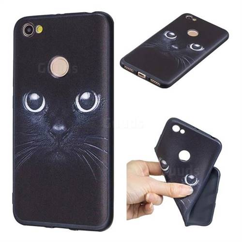 Bearded Feline 3D Embossed Relief Black TPU Cell Phone Back Cover for Xiaomi Redmi Note 5A