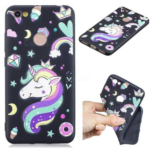 Candy Unicorn 3D Embossed Relief Black TPU Cell Phone Back Cover for Xiaomi Redmi Note 5A
