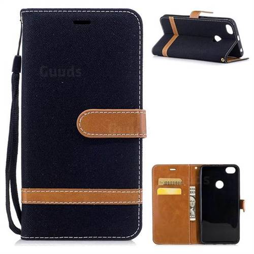 Jeans Cowboy Denim Leather Wallet Case for Xiaomi Redmi Note 5A - Black