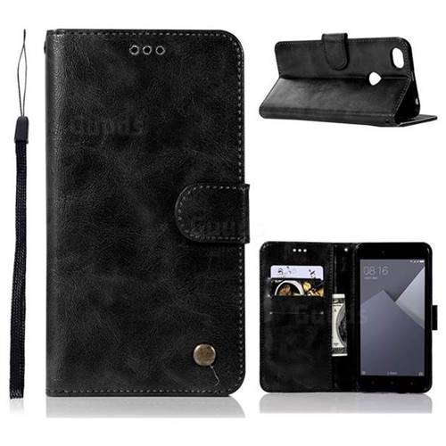 Luxury Retro Leather Wallet Case for Xiaomi Redmi Note 5A - Black