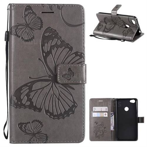 Embossing 3D Butterfly Leather Wallet Case for Xiaomi Redmi Note 5A - Gray
