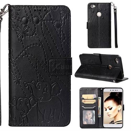 Embossing Fireworks Elephant Leather Wallet Case for Xiaomi Redmi Note 5A - Black