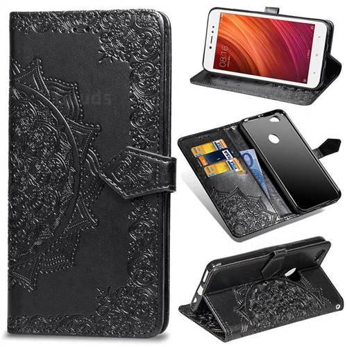 Embossing Imprint Mandala Flower Leather Wallet Case for Xiaomi Redmi Note 5A - Black