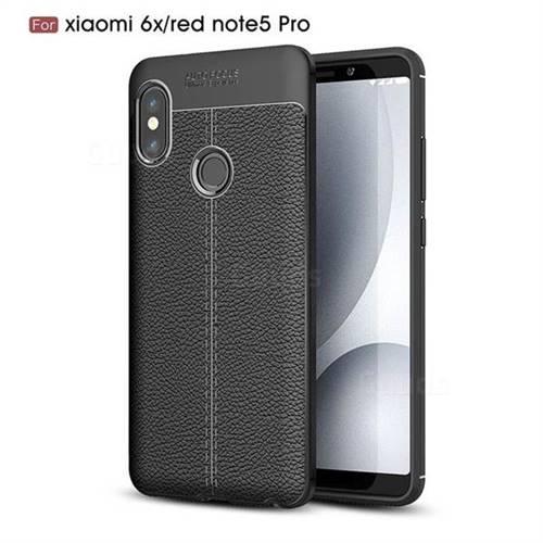 Luxury Auto Focus Litchi Texture Silicone TPU Back Cover for Xiaomi Redmi Note 5 Pro - Black