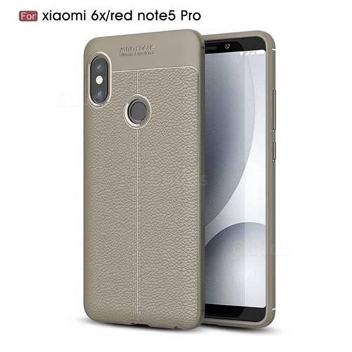 Luxury Auto Focus Litchi Texture Silicone TPU Back Cover for Xiaomi Redmi Note 5 Pro - Gray