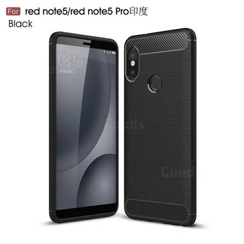 Luxury Carbon Fiber Brushed Wire Drawing Silicone TPU Back Cover for Xiaomi Redmi Note 5 Pro - Black