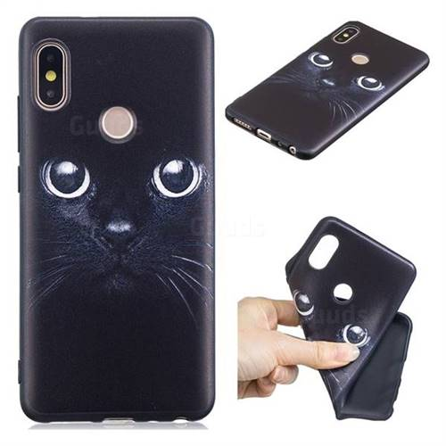 Bearded Feline 3D Embossed Relief Black TPU Cell Phone Back Cover for Xiaomi Redmi Note 5 Pro