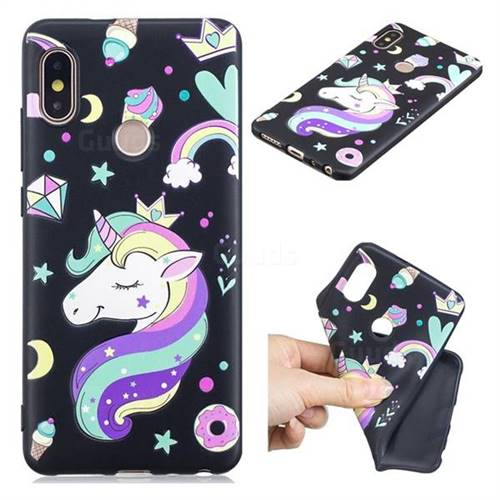 Candy Unicorn 3D Embossed Relief Black TPU Cell Phone Back Cover for Xiaomi Redmi Note 5 Pro