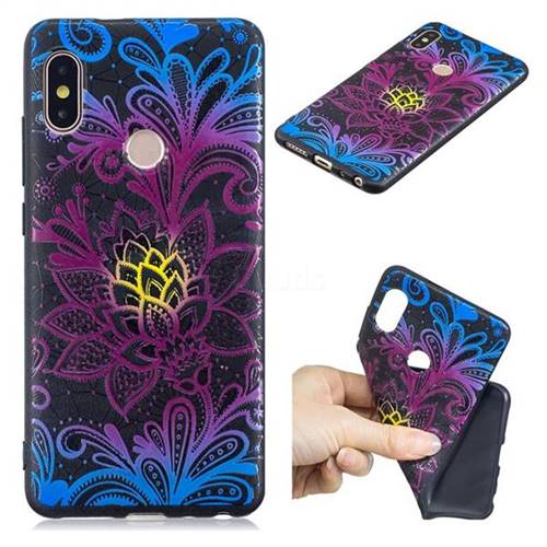 Colorful Lace 3D Embossed Relief Black TPU Cell Phone Back Cover for Xiaomi Redmi Note 5 Pro