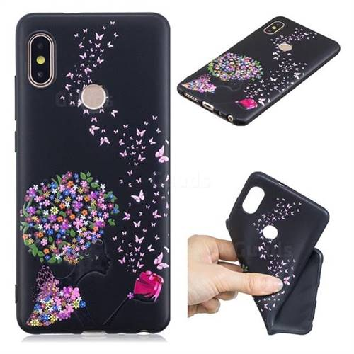 new product 01b03 617d7 Corolla Girl 3D Embossed Relief Black TPU Cell Phone Back Cover for Xiaomi  Redmi Note 5 Pro
