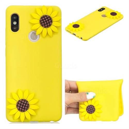 Yellow Sunflower Soft 3D Silicone Case for Xiaomi Redmi Note 5 Pro
