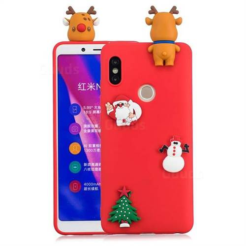 Red Elk Christmas Xmax Soft 3D Silicone Case for Xiaomi Redmi Note 5 Pro