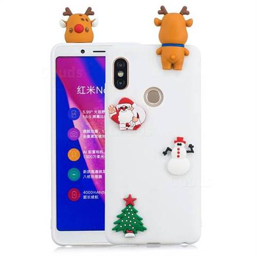 White Elk Christmas Xmax Soft 3D Silicone Case for Xiaomi Redmi Note 5 Pro